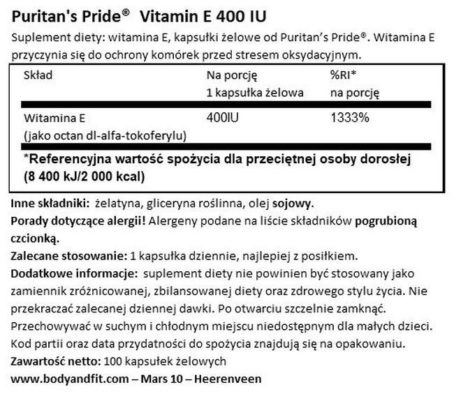 Witamina E 400 jm Nutritional Information 1