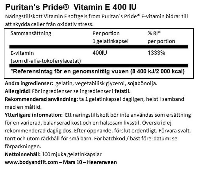 Vitamin E 400 IU Nutritional Information 1