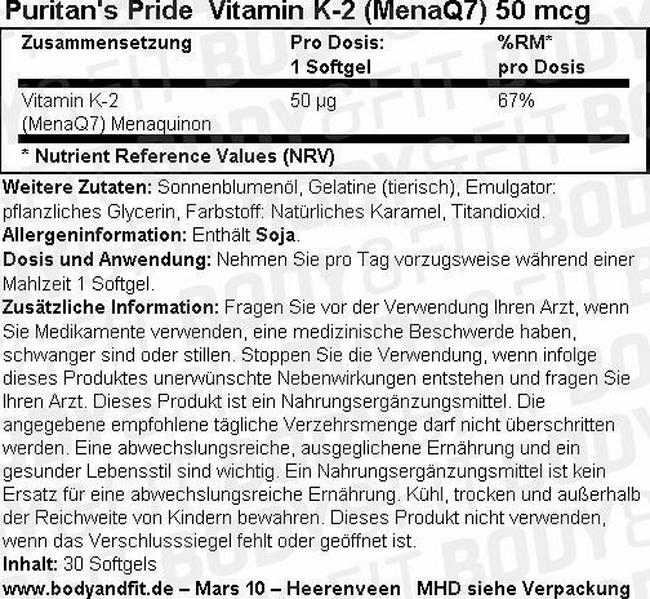 Vitamin K-2 (MenaQ7) 50 mcg Nutritional Information 1
