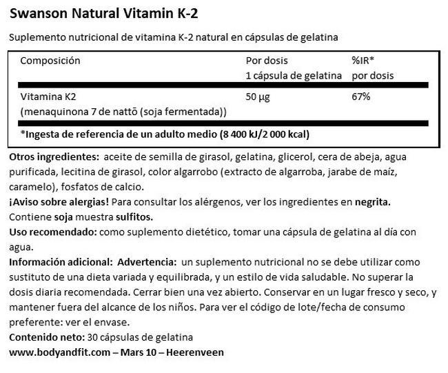 Vitamin K-2 (MenaQ7) 50 µg Nutritional Information 1