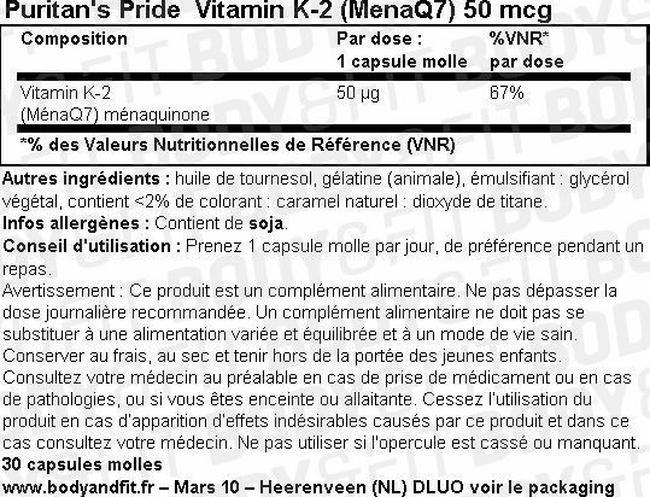 Capsules molles Vitamin K-2 (MenaQ7) 50µg Nutritional Information 1