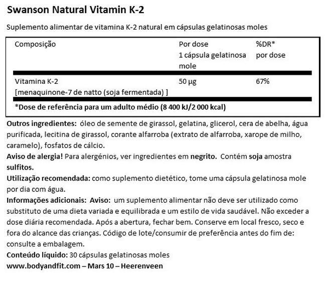 Vitamina K-2 (MenaQ7) 50µg Nutritional Information 1