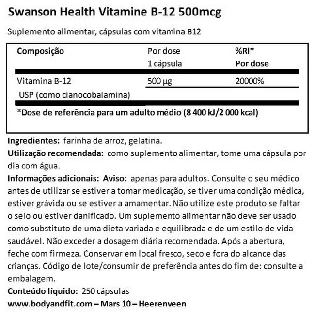 Vitamin B12 500 µg Nutritional Information 1