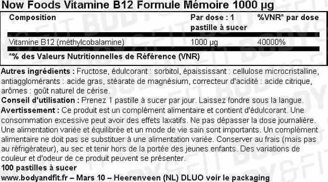 Vitamine B12 Formule Mémoire Nutritional Information 1