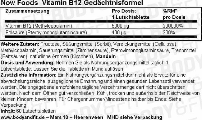 Vitamine B12 Formule Mémoire Nutritional Information 2