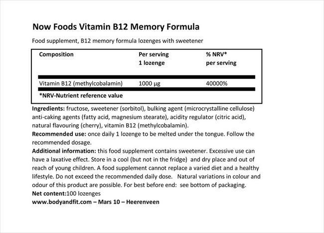 Vitamine B12 Formule Mémoire Nutritional Information 4