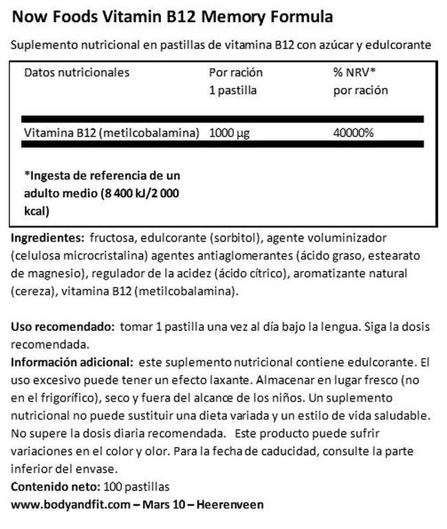 Vitamin B12 1000 µg Nutritional Information 1