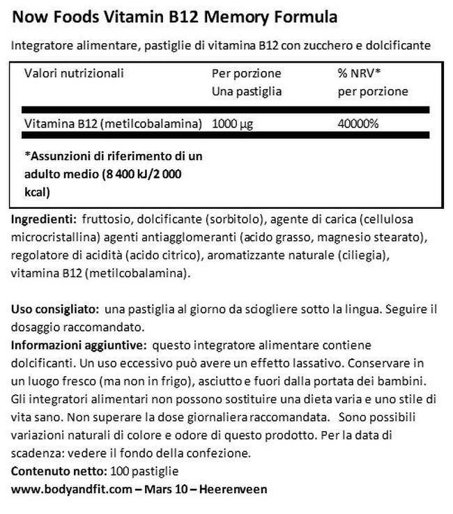Vitamin B12 1000µg Nutritional Information 1