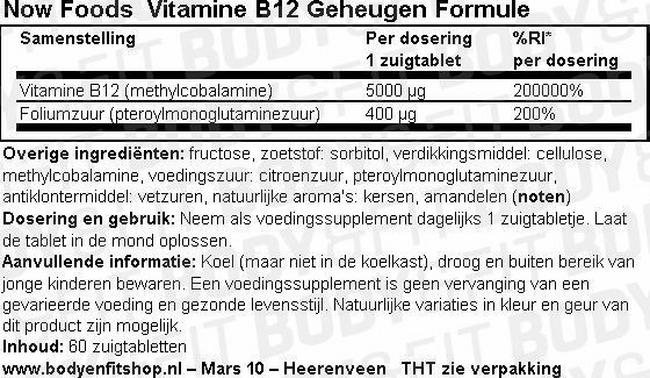 Vitamine B12 Geheugen Formule Nutritional Information 1