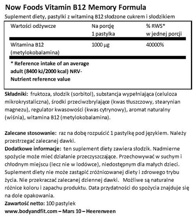 Witamina B12 1000 µg Nutritional Information 1