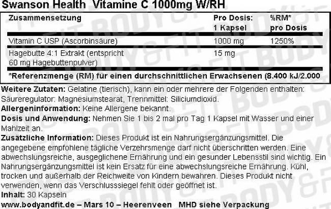 Vitamine C 1000mg W/RH Nutritional Information 1