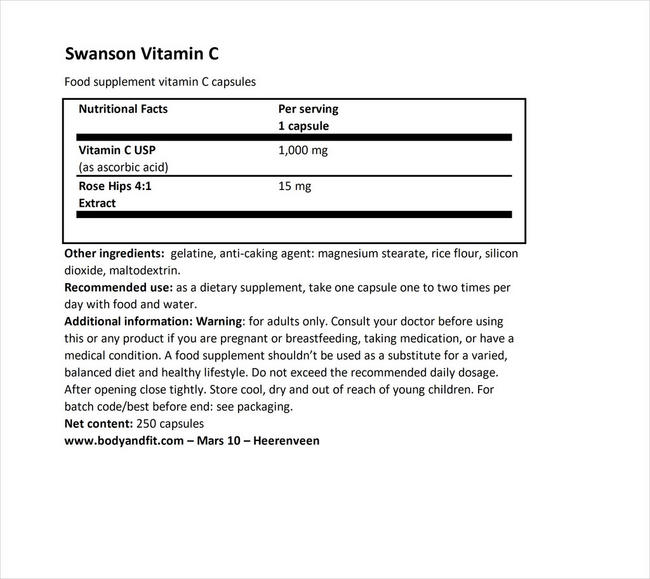 Vitamin C 1000mg W/RH Nutritional Information 1