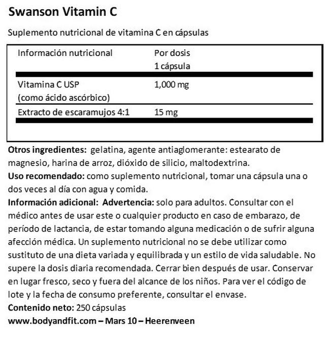 Vitamin C 1000mg W/RH Nutritional Information 1
