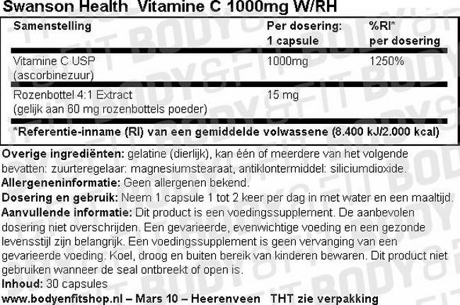 Vitamine C 1000mg W/RH Nutritional Information 1
