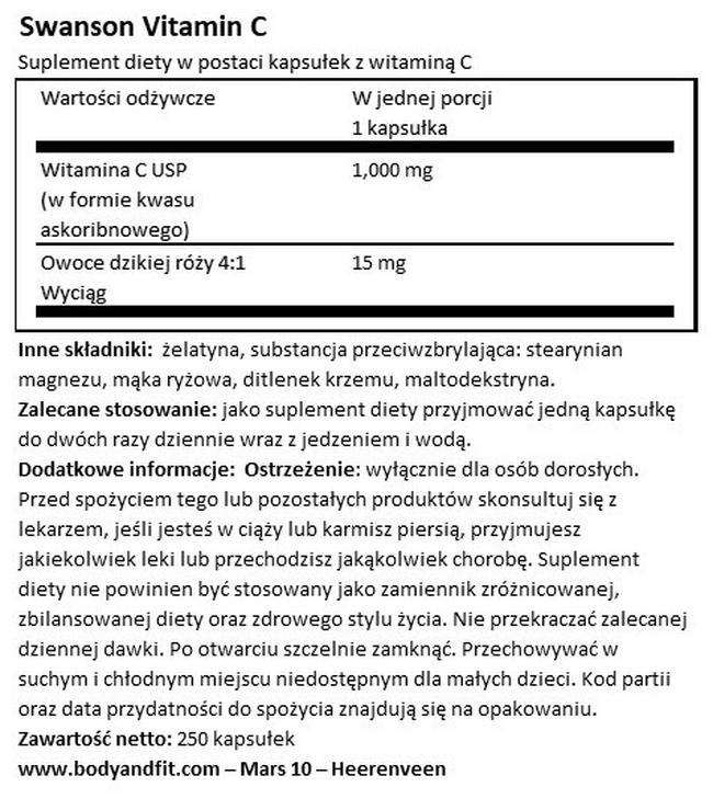 Vitamin C 1000 mg W/RH Nutritional Information 1