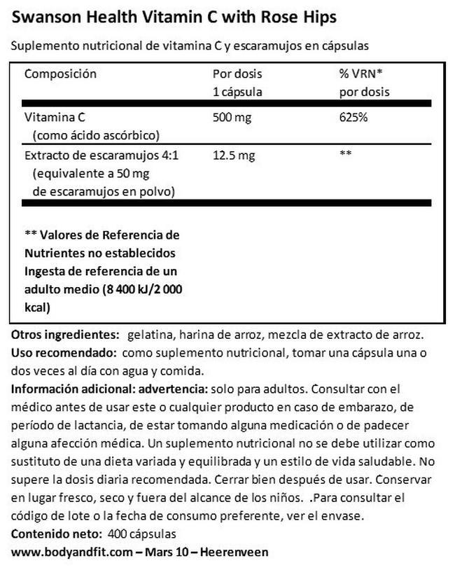 Vitamin C 500mg W/RH Nutritional Information 1