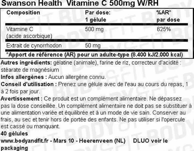 Gélules VitaminC 500mg W/RH Nutritional Information 1