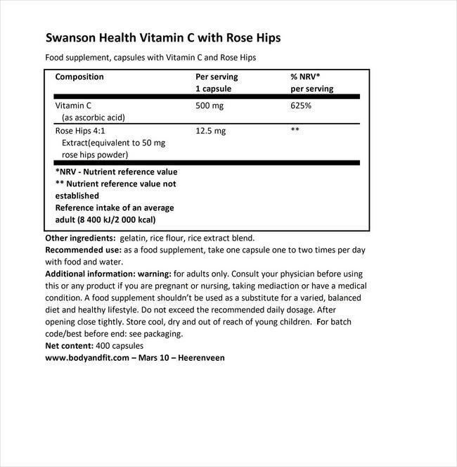 ビタミンC 500mg &ローズヒップ配合 Nutritional Information 1