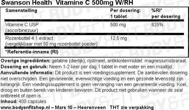 Vitamine C 500mg W/RH Nutritional Information 1
