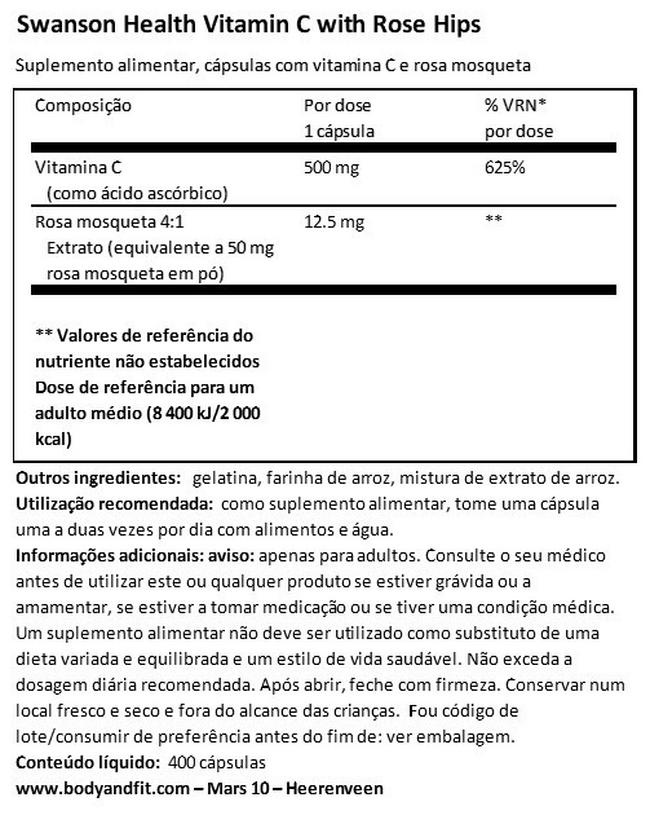 Vitamin C 500 mg W/RH Nutritional Information 1