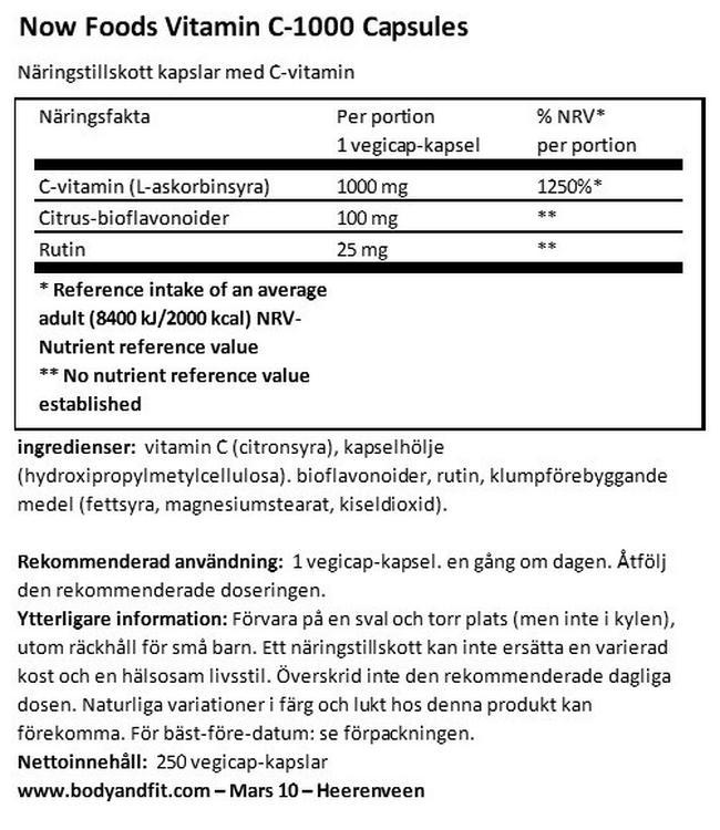 Vitamin C 1000 Capsules Nutritional Information 1