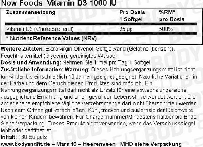 Vitamin D3 (1000 IU) Nutritional Information 1