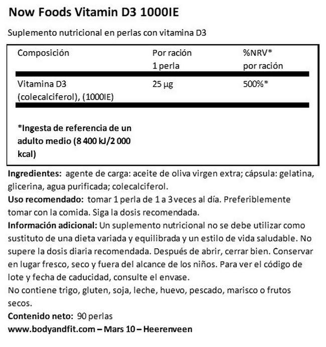 Vitamin D3 (1000 UI) Nutritional Information 1