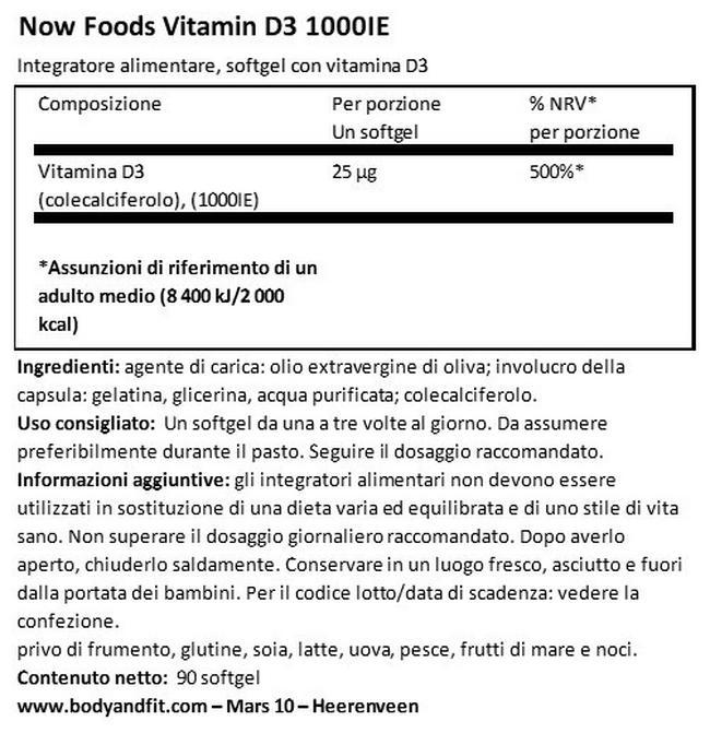 Vitamina D3 (1.000 IU) Nutritional Information 1