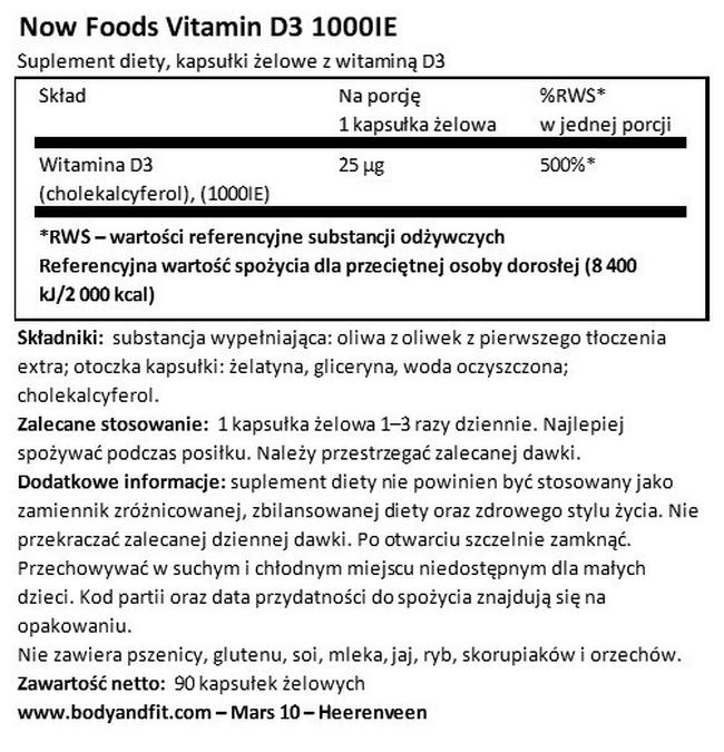 Witamina D3 (1000 jm) Nutritional Information 1