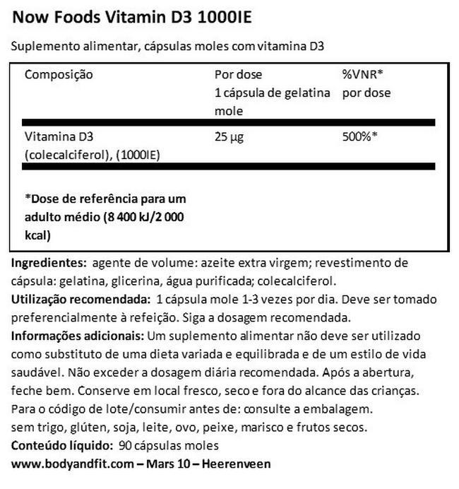 Vitamina D3 (1000IU) Nutritional Information 1