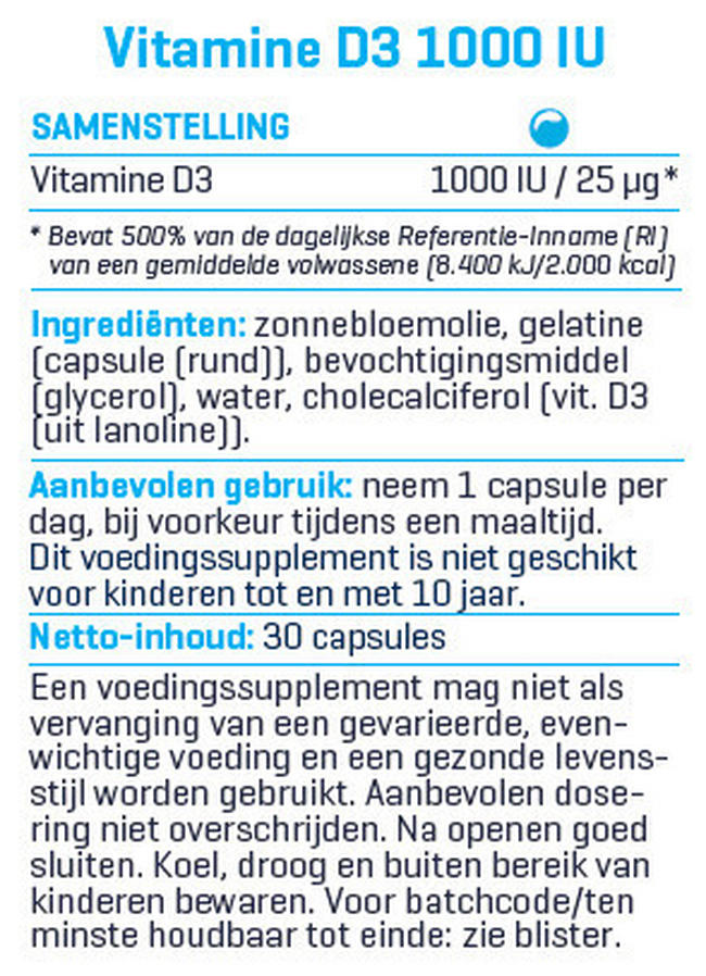 Vitamine D3 - 1000UI Nutritional Information 1