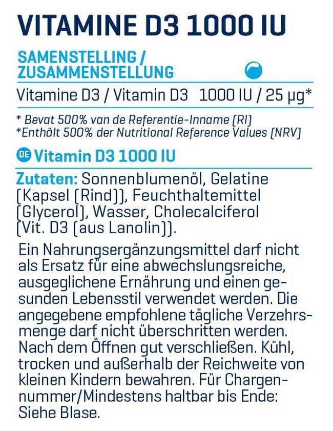 Vitamine D3 - 1000UI Nutritional Information 2