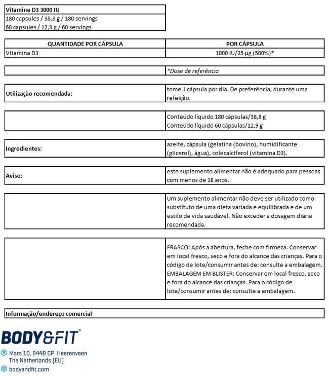 Vitamin D3 – 1000IU Nutritional Information 1