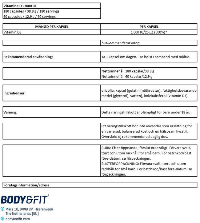 Vitamin D3 - 1000IU Nutritional Information 1