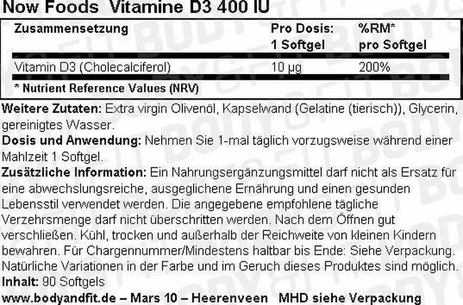 Vitamin D3 Nutritional Information 1