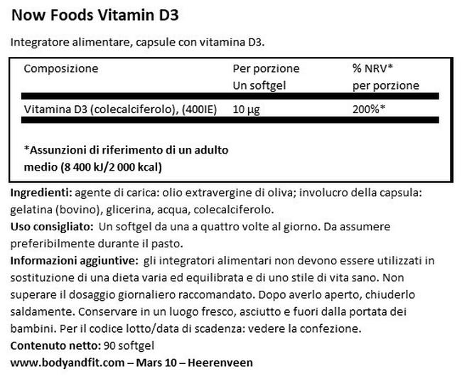 Vitamina D3 400 IU Nutritional Information 1