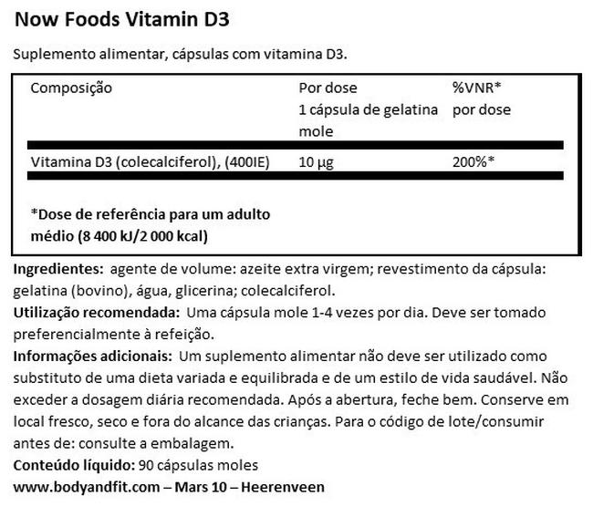Vitamin D3 400IU Nutritional Information 1