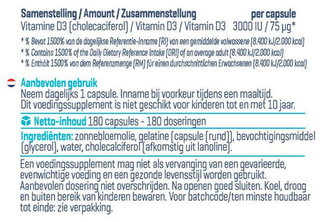 Vitamin D3 - 3000 IU Nutritional Information 3