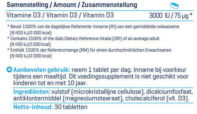 Vitamin D3 - 3000 IU Nutritional Information 4