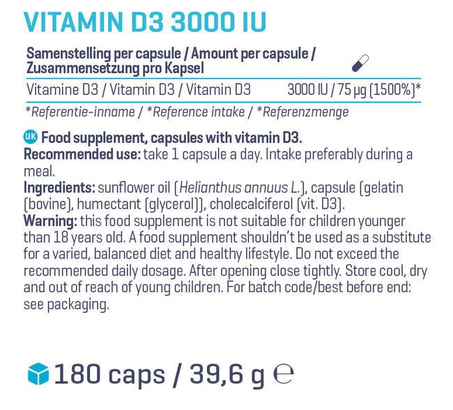 Vitamin D3 - 3000 IU Nutritional Information 1