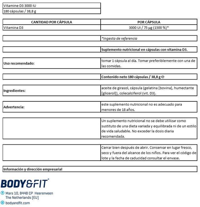Vitamin D3 - 3000 UI Nutritional Information 1