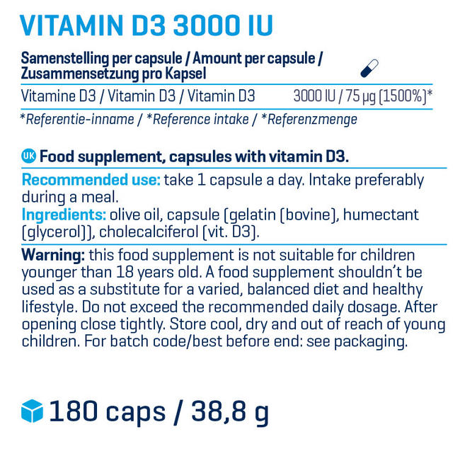 ビタミンD3 - 3000 IU Nutritional Information 1