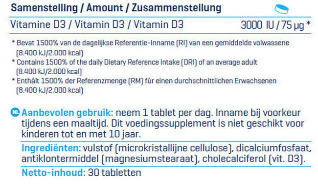 Vitamine D3 - 3000 IU Nutritional Information 2