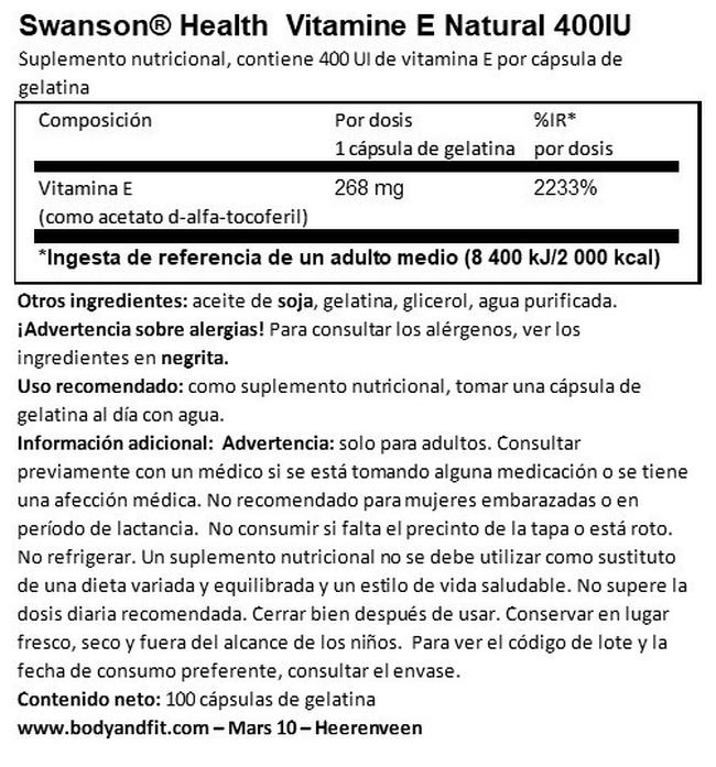 Vitamin 400 UI Nutritional Information 1