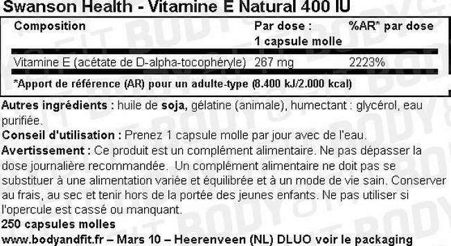 Vitamine E Natural 400IU Nutritional Information 1