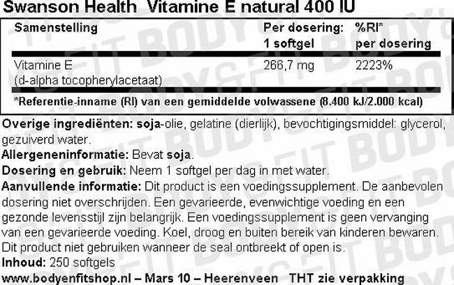 Vitamine E Natural 400IU Nutritional Information 1