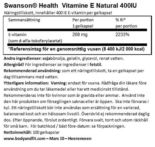 Vitamin E Natural 400 IU Nutritional Information 1