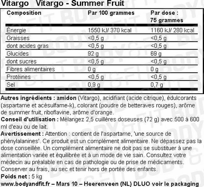 Vitargo Nutritional Information 1