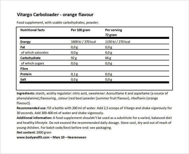 Vitargo Carboloader Nutritional Information 4