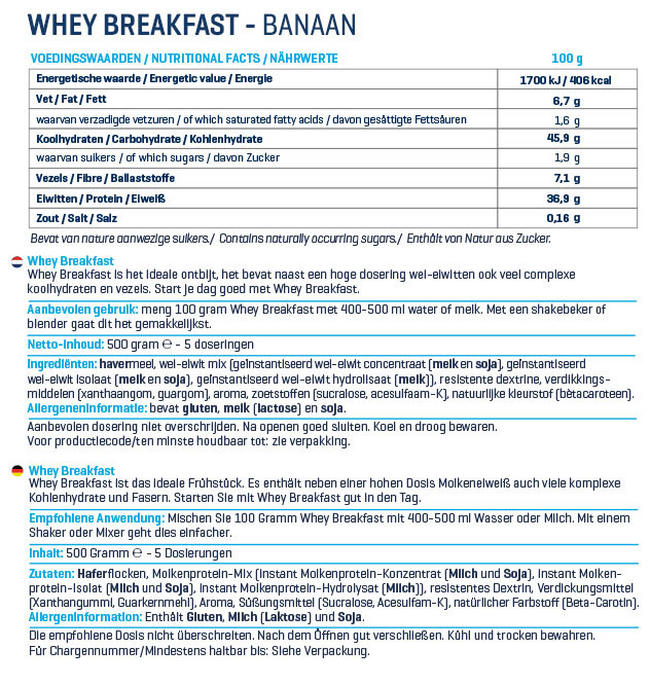 Whey Breakfast Nutritional Information 1
